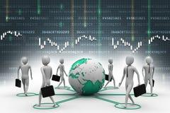 Pessoas do homem de negócios com terra do globo Imagens de Stock