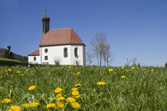 Pest chapel in flower meadow Royalty Free Stock Photos