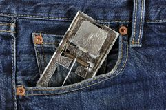 Pest control. Agent with mousetrap in pocket Royalty Free Stock Images