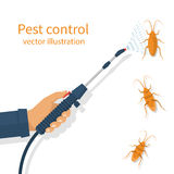 Pest control banner concept. Man exterminator holds a sprayer in hands spraying pesticide. Destruction bug. Service to protect the house. Vector illustration Royalty Free Stock Images