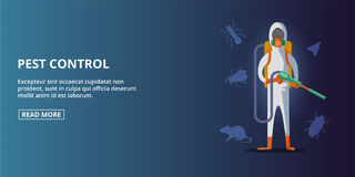 Pest control banner horizontal, cartoon style Stock Photo