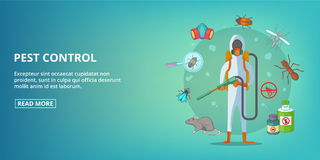 Pest control banner horizontal, cartoon style Royalty Free Stock Images