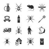 Pest Control Black White Icons Set Royalty Free Stock Image