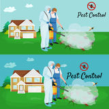 Pest control concept with insects exterminator silhouette flat vector illustration. Set Stock Images