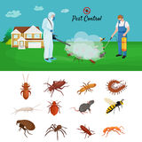 Pest control concept with insects exterminator silhouette flat vector illustration. Set Royalty Free Stock Photo