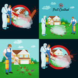 Pest control concept with insects exterminator silhouette flat vector illustration Stock Photography
