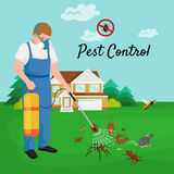 Pest control concept with insects exterminator silhouette flat vector illustration Royalty Free Stock Photos