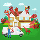 Pest control concept with insects exterminator silhouette flat vector illustration Royalty Free Stock Photography