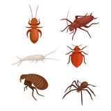 Pest control concept with insects exterminator silhouette flat vector illustration Royalty Free Stock Image
