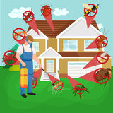 Pest control concept with insects exterminator silhouette flat vector illustration Stock Images