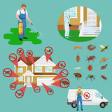 Pest control concept with insects exterminator silhouette flat vector illustration Stock Photo