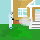 Pest control concept with insects exterminator silhouette flat vector illustration Stock Photos