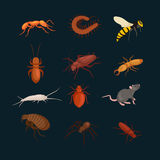 Pest control concept with insects exterminator silhouette flat vector illustration Royalty Free Stock Images