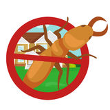 Pest control concept with insects exterminator silhouette flat vector illustration Stock Image