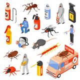 Pest Control 3d Isomeric Set. Pest control service workers 3d isometric icons set isolated on white background vector illustration stock illustration