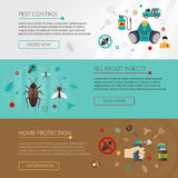 Pest Control Extermination 3 Flat Banners Stock Photography
