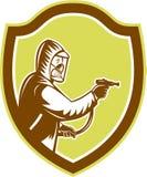 Pest Control Exterminator Spraying Shield Retro Stock Images