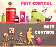 Pest Control Horizontal Banners. Pest control banners set of two horizontal banners with flat images of decontamination equipment and facilities vector vector illustration
