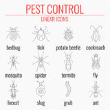 Pest control icon set with names of insects. Pest control line icon set with insects and their names. Perfect for exterminator service and pest control companies Stock Image