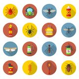 Pest control icon set. Regulation or management of a species, unwanted animals, insects, germs. Vector flat style cartoon illustration isolated on white vector illustration