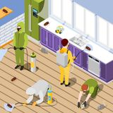 Pest Control Isometric Background. With exterminators in protective suits spraying pesticide in home interior vector illustration Royalty Free Stock Image