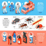 Pest Control Isometric Horizontal Banners Royalty Free Stock Photography