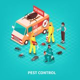 Pest Control Isometric Illustration. Pest control service workers in uniform getting rid of different pests on blue background isometric vector illustration Royalty Free Stock Photography