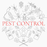 Pest control linear set Stock Image