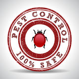 Pest control 100% safe grunge rubber stamp on white Royalty Free Stock Photography