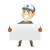 Pest control service holding blank sign royalty free illustration