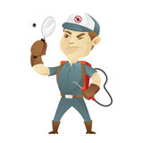 Pest control service holding magnifying glass royalty free illustration