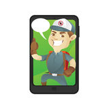 Pest control service inside smartphone with bubble word royalty free illustration
