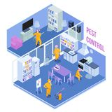 Pest Control Service Isometric Illustration. Workers of pest control service during sanitary processing of kitchen and living room isometric vector illustration royalty free illustration
