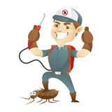 Pest control service killing cockroach and giving thumb up Royalty Free Stock Photo