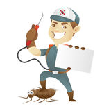 Pest control service killing cockroach and holding business card Stock Photo