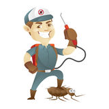 Pest control service killing cockroach and holding pest sprayer Stock Images