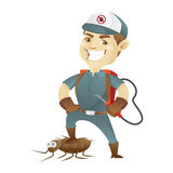 Pest control service killing cockroach and holding pest sprayer Royalty Free Stock Photo
