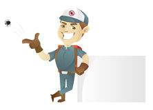 Pest control service leaning on blank sign vector illustration