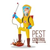 Pest Control Service Vector. Sanitation, Cleaner Washing. Pest Removal. Exterminator Of Insects. Flat Cartoon. Pest Control Vector. Prevention From Infection Stock Photo