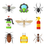 Pest control set. Home and office protection service, effective chemical tools for hygienic environment, pest-free house. Vector flat style cartoon stock illustration