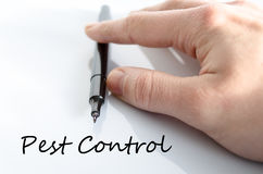 Pest control text concept. Isolated over white background Stock Photos