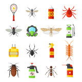 Pest control vector icons on white background. Pest control vector icons isolated on white background. Household pests cockroach, termite, bug, spider, moth Stock Images