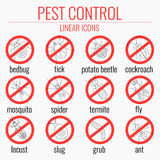 Pest control warning icon set Stock Image