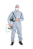 Pest control worker with pesticides sprayer. Pest Control Worker In Protective Workwear With Pesticides Sprayer Over White Background Stock Photo