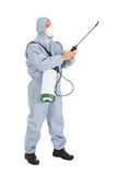 Pest control worker with pesticides sprayer. Pest Control Worker In Protective Workwear With Pesticides Sprayer Over White Background Royalty Free Stock Image