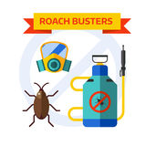 Pest control worker spraying pesticides home insects vector. Stock Image