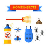 Pest control worker spraying pesticides home insects vector. Stock Photos