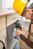 Pest control worker spraying pesticides inside cabinet Stock Photo
