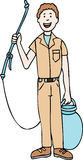 Pest Exterminator. Happily holds his pesticide canister and sprayer Stock Photo