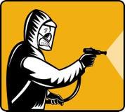 Pest exterminator pesticide. Illustration of a Pest control exterminator spraying pesticide Royalty Free Stock Images